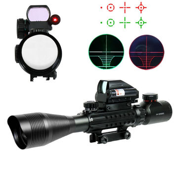 4-12X50EG Illuminated Tactical Rifle Gun Optical Hunting Scope with Holographic 4 Reticle Sight & Red Laser JG8
