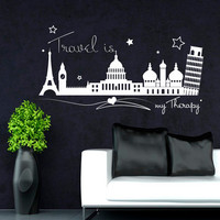Wall Decals Quote Travel Is My Therapy Wall Decal Eiffel Tower Leaning Tower Of Pisa All Attractions World Stickers Bedroom Living Room 3916