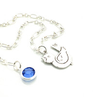 Bird Anklet, Singing, Blue, Sapphire, Silver, Cute, Teen Gift, Ankle Bracelet