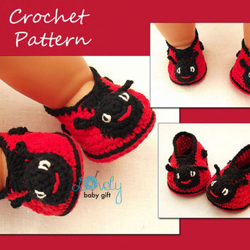 Crochet Pattern, Ladybug Shoes Crochet Pattern, Baby Booties Crochet Pattern, Ladybird Shoes Crochet Pattern, Instant Download, CP-202