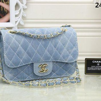 LMFON Chanel' Women Casual Fashion Quilted Denim Metal Chain Single Shoulder Messenger Bag