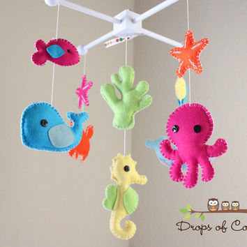 Baby Crib Mobile - Baby Mobile - Nursery Crib Mobile - Ocean Mobile - Under the Sea Creatures Whale, Seahorse (You can Pick your colors)