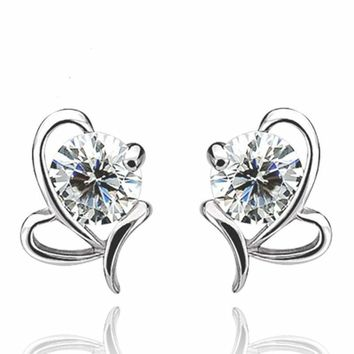 Women Jewelry Elegant 925 Sterling Silver Crystal Ear Stud Earrings US Seller