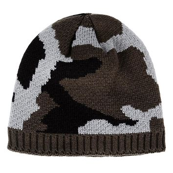 Thickened Fleece Lining Winter Caps Men Camouflage Sports Knitted Hat Outdoor Velvet Warm Beanies Skiing Climbing Headwear