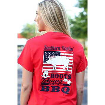 Southern Darlin Boots Bows & BBQ USA Flag Pig Bright Girlie T-Shirt