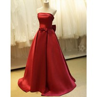 Vintage Red Prom Dress Strapless Bow Satin A Line Floor Length 2017 New Classic Party Gowns vestidos de fiesta Custom Size
