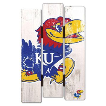 Kansas Jayhawks De-Fence 11x17 Wood Sign