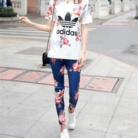 """Adidas"" Women Casual Geometric Letter Flower Print Short Sleeve Trousers Set Two-Piece Sportswear"