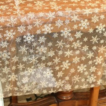 "1.7 yds Sheer Ivory Sparkly Snowflake Fabric | Gossamer Fabric with Glittery Snowflakes | Sheer Christmas Fabric Crafts Sewing 64"" x 63.5"""