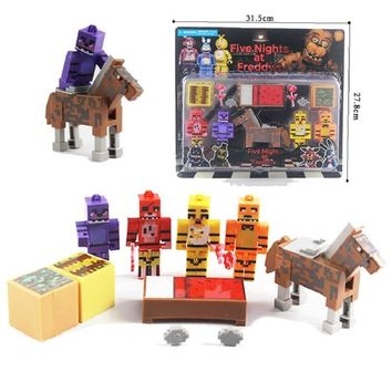 New 5pcs/set Minecraft  At  4  Foxy Chica Bonnie Freddy Action Figures Toys For Kids Anime Party Gifts