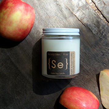 Second Eden: Apple Soy Candle {Se} in Glass Jar 5oz. with Cotton Wick or Wood Wick