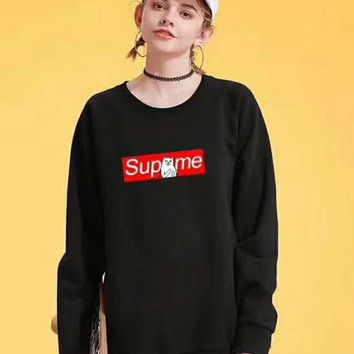 """Supreme"" Couple Casual Letter Print Velvet Long Sleeve Pullover Sweatshirt Top Sweater G-G-JGYF"