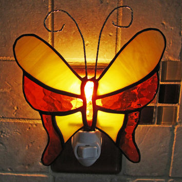 Handmade Stained Glass Butterfly Night Light ~ Yellow and Orange Night Light ~ Home Decor ~ Gifts under 20