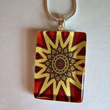 Boho Orange and Yellow Start Pattern Pendant with Silver Snake Chain