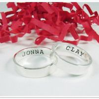 His and Her Promise Ring Set - Matching Promise Rings Sterling Silver Hand Stamped 4mm x 1mm ring set