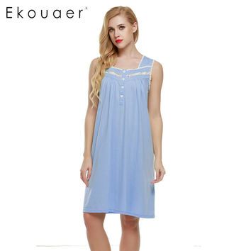 Ekouaer Sleeveless Nightgown sexy women Lingerie Nightwear Square Neck Knee-length Nightdress casual ladies sleepwear Summer