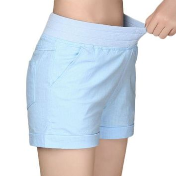 DK7G2 2017 European and American BF summer wind female candy color high waist linen shorts women loose elastic waist shorts plus size