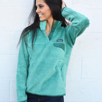 Patagonia Women's Re-Tool Snap-T Fleece Pullover- Aqua Stone and Beryl Green