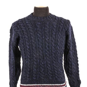 Thom Browne Navy Cable Knit Wool Sweater
