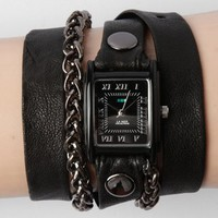La Mer Gun Metal Motorcycle Chain Wrap Watch - Black - Punk.com