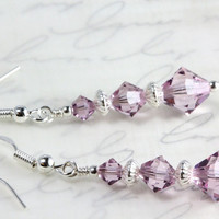 Swarovski Crystal Dangle Earrings, Light Amethyst, Sterling Silver, Bridal, Wedding