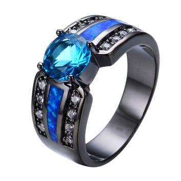 Wedding Jewelry Size 6/7/8/9 Light Blue White CZ Ocaen Blue Fire Opal Black Gold Filled Band Anel Aneis Engagement Rings RB0302