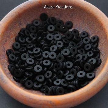 8mm Black Mykonos Greek Ceramic Beads (Packs of 25 or 50) Disc Spacers Roundels Donuts Color Therapy Mystery Transformation Rebirth Void