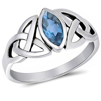 Simulated Aquamarine 925 Sterling Silver Ring Sizes 411