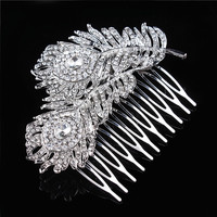 Vintage Peacock Feather Hair Comb Crystal Rhinestone Bridal Hair Accesories Wedding Head jewelry bijoux de tete
