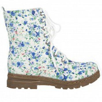 Carrini 52-660 FLoral Combat Boots   Women Boots BLUE MULTI Bare Feet Shoes