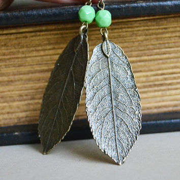 Christmas in July. Leaf Imprint Earrings.Nature Inspired Jewelry.Bohemian Earrings.Earthy Earring.