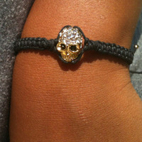 Gold Rhinestone Skull Adjustable Bracelet