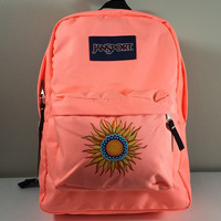JanSport SuperBreak Backpack in Coral with Hand Painted Sun