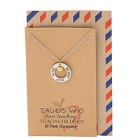 Bryce Teachers Gifts, Teach Love Inspire Necklace and Thank You Card