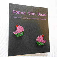 zombie cupcake stud earrings