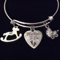 Mother to Be Expandable Charm Bracelet Silver Adjustable Wire Bangle New Mom Shower Gift Rocking Horse Baby Carriage