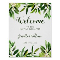 Welcome Sign | Elegant Olive Boho Garden Wedding