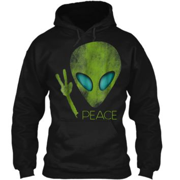 Alien Peace Cool Funny  Cute UFO Lover Birthday Gift Pullover Hoodie 8 oz