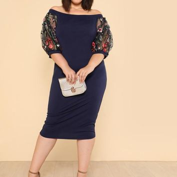 Bardot Plus Size Pencil Dress With Embroidered Mesh Sleeve