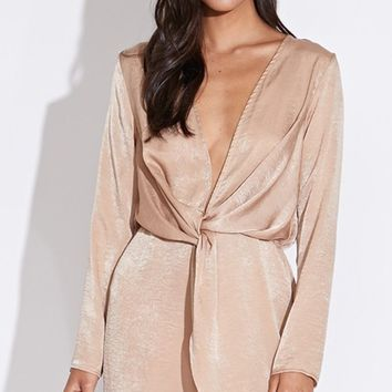 Number One Fan Satin Long Sleeve Plunge V Neck Twist Elastic Mini Dress - 2 Colors Available