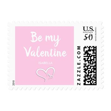Simple Pink Valentines Day Double Heart Postage