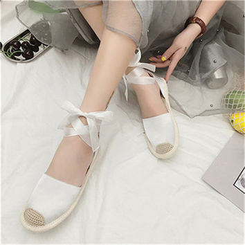 sandals women 2017 summer Flat Espadrilles Ankle Strap Lace Up Summer Holiday Cotton Fabric Shoes luxury sexy skin Shoes