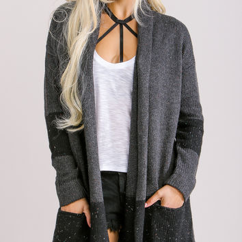Easeful Black and Charcoal Cardigan Sweater