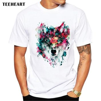 2017 Summer Custom Lion/Owl/Wolf/Tiger/Cat Design T Shirt Men's Watercolor Animal Graphics Printed Tops Hipster Tees pb575