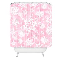 Lisa Argyropoulos Snow Flurries in Pink Shower Curtain