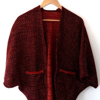 Orange/red/black/square knit/long/open shrug cardigan/jacket