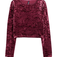 Short Crushed-velvet Top - from H&M
