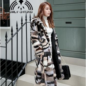 Real natural genuine mink fur coat with hood women fashion colorful X-long 110CM length  jacket outwear custom any size