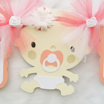 Baby girl banner, baby shower banner, shades of coral, white, peach, its a girl, - READY TO SHIP