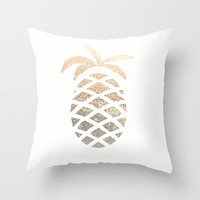 GATSBY GOLD PINEAPPLE Throw Pillow by Monika Strigel